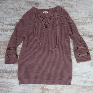 Miracle Knit Tie Vneck Sweater Top 3/4 Sleeve